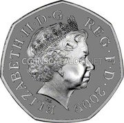 UK 50 Pence (40th anniversary of the 50 Pence) ELIZABETH II D G REG F D 2009 IRB coin obverse