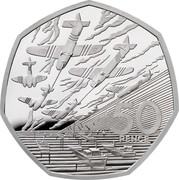 UK 50 Pence D-Day Anniversary 2009 Proof 50 PENCE JM coin reverse