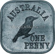 Australia One Penny (George V Kookaburra Pattern - Type 5a) KM# Pn10a AUSTRALIA ONE PENNY coin reverse