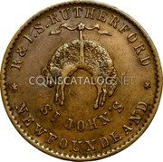 Canada 1/2 Penny Rutherford St Johns ND (1841)  Without date R & I.S. RUTHERFORD ST. JOHN'S * NEWFOUNDLAND * coin reverse