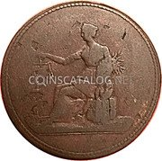 Canada 1/2 Penny Seated Justice Token 1820 - coin reverse