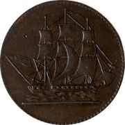 Canada 1/2 Penny Ships Colonies & Commerce 1829 - coin obverse