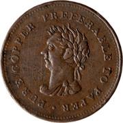 Canada 1 Penny Trade & Navigation Preferable To Paper 1838 PURE COPPER PREFERABLE TO PAPER coin obverse