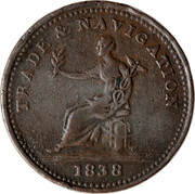 Canada 1 Penny Trade & Navigation Preferable To Paper 1838 TRADE & NAVIGATION 1838 coin reverse