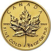 Canada 10 Dollars Gold Maple Leaf 2014 CANADA 9999 9999 FINE GOLD 1/4 OZ OR PUR coin reverse