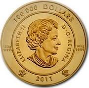 Canada 100 000 Dollars The Spirit of Haida Gwaii 2011 Proof KM# 1209 100 000 DOLLARS 10Kg 99999 10Kg 99999 ELIZABETH II D.G.REGINA 2011 coin obverse