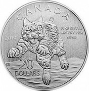 Canada 20 Dollars Bobcat 2014 KM# 1562 CANADA 20 DOLLARS 2014 FINE SILVER ARGENT PUR 9999 coin reverse