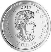 Canada 25 Cents Remembrance 2015 KM# 1852.2 ELIZABETH II 2015 D∙G∙REGINA 25 CENTS coin obverse