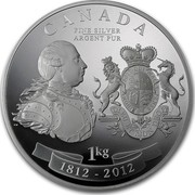 Canada 250 Dollars King George III Peace Medal 2012 Proof CANADA FINE SILVER ARGENT PUR 1 KG 1812 - 2012 coin reverse
