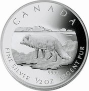 Canada 4 Dollars Arctic Fox 2004 Proof CANADA CD 9999 FINE SILVER 1/2 OZ ARGENT PUR coin reverse