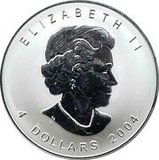 Canada 4 Dollars Elizabeth II 2004 Mint logo privy mark KM# 624 ELIZABETH II 4 DOLLARS 2004 coin obverse