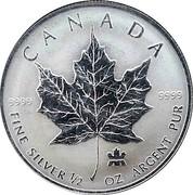 Canada 4 Dollars Elizabeth II 2004 Mint logo privy mark KM# 624 CANADA .9999 .9999 FINE SILVER 1/2 OZ ARGENT PUR coin reverse