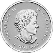 Canada 4 Dollars Maple Leaf 2015 Proof KM# 1808 ELIZABETH II D G REGINA 4 DOLLARS coin obverse