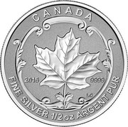 Canada 4 Dollars Maple Leaf 2015 Proof KM# 1808 CANADA FINE SILVER 1/2 OZ ARGENT PUR 2015 9999 coin reverse