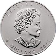 Canada 5 Dollars Maple Leaf 2017 Puma Privy Mark; Proof KM# 625 ELIZABETH II 5 DOLLARS coin obverse