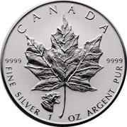 Canada 5 Dollars Maple Leaf 2017 Puma Privy Mark; Proof KM# 625 CANADA 9999 9999 FINE SILVER 1 OZ ARGENT PUR coin reverse