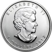 Canada 5 Dollars Moose 2012 KM# 1241 ELIZABETH II 5 DOLLARS 2012 coin obverse