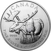 Canada 5 Dollars Moose 2012 KM# 1241 CANADA 9999 WW FINE SILVER 1 OZ ARGENT PUR coin reverse