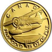 2008 1//25 Ounce Gold Coin Beaver Plane