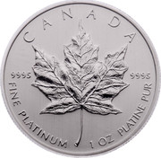 Canada 50 Dollars Maple Leaf 2009 CANADA 9995 9995 FINE PLATINUM 1 OZ PLATINE PUR coin reverse