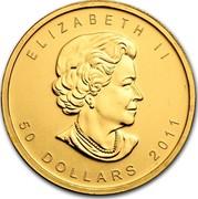 Canada 50 Dollars Maple Leaf 2011 ELIZABETH II 50 DOLLARS DATE coin obverse