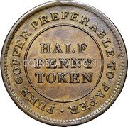 Canada Half Penny Token For General Accomodation Token ND HALF PENNY TOKEN PURE COPPER PREFERABLE TO PAPER ∙ coin reverse