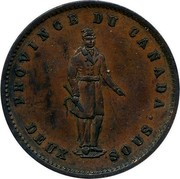 Canada One Penny 1852 Proof KM# Tn21a Quebec PROVINCE DU CANADA coin obverse