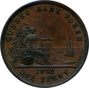 Canada One Penny 1852 Proof KM# Tn21a Quebec QUEBEC BANK TOKEN 1852 ONE PENNY coin reverse