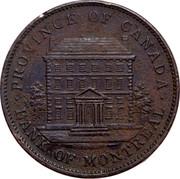 Canada One Penny Montréal Bank Token 1842 PC-2B KM# Tn19 BANK TOKEN CONCORDIA SALUS BANK OF MONTREAL 1842 ONE PENNY coin obverse