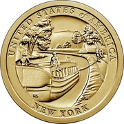 USA $1 (New York) UNITED STATES OF AMERICA RS PH NEW YORK coin reverse