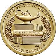 USA $1 (North Caroline) UNITED STATES OF AMERICA FIRST PUBLIC UNIVERSITY NC RS JFM NORTH CAROLINA coin reverse