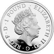 UK 1 Pound Britannia and the Lion 2021 ELIZABETH II D G REG F D 1 POUND JC coin obverse