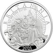 UK 1 Pound Britannia and the Lion 2021 BRITANNIA 2021 PJL 1/2 OZ 999 FINE SILVER coin reverse
