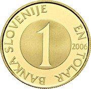 Slovenia 1 Tolar (10 years of Slovenian tolar) BANKA SLOVENIJE EN TOLAR 1 2006 coin obverse