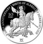 Malta 10 Euro Albrecht Dürer 550 Years 2021 Proof 550TH ANNIVERSARY BIRTH OF ALBRECHT DÜRER 1471-1528 10 EURO coin reverse