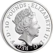 UK 10 Pounds Britannia and the Lion 2021 ELIZABETH II D G REG F D 10 POUNDS JC coin obverse