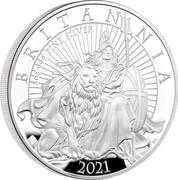 UK 10 Pounds Britannia and the Lion 2021 5 OZ 999 FINE SILVER BRITANNIA 2021 PJL coin reverse
