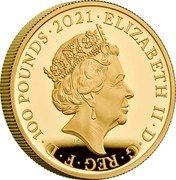 UK 100 Pounds Alice Through the Looking Glass 2021 ELIZABETH II D G REG F D 100 POUNDS 2021 coin obverse