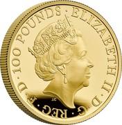 UK 100 Pounds Britannia and the Lion 2021 ELIZABETH II D G REG F D 100 POUNDS coin obverse