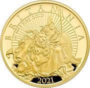 UK 100 Pounds Britannia and the Lion 2021 1 OZ 999.9 FINE GOLD BRITANNIA 2021 PJL coin reverse