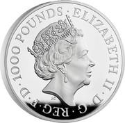 UK 1000 Pounds Britannia and the Lion 2021 ELIZABETH II D G REG F D 1000 POUNDS JC coin obverse