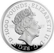 UK 1000 Pounds (Britannia and the Lion) ELIZABETH II D G REG F D 1000 POUNDS JC coin obverse