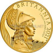 UK 1000 Pounds (Britannia - Premium Exclusive) BRITANNIA 2021 1 KILO 999 FINE GOLD PJL coin reverse