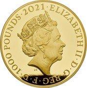 UK 1000 Pounds (The Who) ELIZABETH II D G REG F D 1000 POUNDS 2021 JC coin obverse