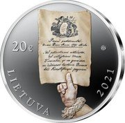 Lithuania 20 Euro 230th anniversary of the 1791 Constitution 2021 Proof 20€ LIETUVA 2021 coin obverse