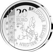 Belgium 20 Euro Joseph Poelaert 2017 20 EURO 2017 QP LL BELGIQUE BELGIE BELGIEN coin obverse