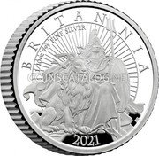 UK 20 Pence (Britannia and the Lion) BRITANNIA 2021 1/10 OZ 999 FINE SILVER PJL 2021 coin reverse