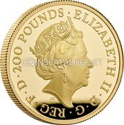 UK 200 Pounds (Britannia and the Lion) ELIZABETH II D G REG F D 200 POUNDS JC coin obverse