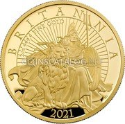UK 200 Pounds (Britannia and the Lion) BRITANNIA 2021 2 OZ 999.9 FINE GOLD PJL coin reverse