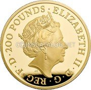 UK 200 Pounds (Britannia - Premium Exclusive) ELIZABETH II D G REG F D 200 POUNDS coin obverse